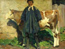 Feyerabend, Erich (1889 Rees am Niederrhein - 1945 Bad Friedrichshall Jagstfeld)Bauer mit Kuh im