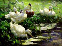 Koester, Alexander (1864 Bergneustadt - 1932 München) Fünf ruhende Enten am Ufer. Öl auf