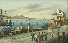 Italien, 19. Jh.Neapolitanische Küstenlandschaft mit Blick auf den Vesuv. Öl auf Leinwand. 25,5 x