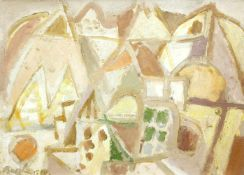 Bargheer, Eduard (1901 Hamburg - 1979 ebd.)Forio Landschaft mit Monte Epomeo. 1969. Öl auf Karton,