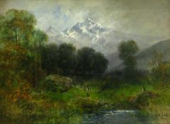Bröker, Wilhelm (1848 Berlin - 1933 Bad Kösen)Im Thal. 1902. Öl auf Holz. 17 x 26 cm. Rechts unten