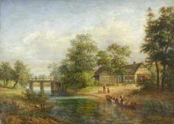 Chevalier, Adolf (1831 Crossen, 1856-70 auf Akademieausstellungen vertreten)Partie aus Naundorf im