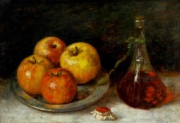 Déri, Kálmán (1859 Batsch - 1940 München)Stillleben mit Äpfeln und Karaffe. Öl auf Malkarton. 32 x