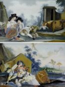 Hinterglasbilder, Augsburg, 18. Jh., zwei StückSchäferszenen. Je ca. 25 x 37 cm. Neu gerahmt.