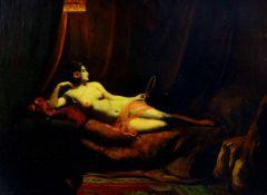 Discher, Fritz (1880 Landsberg an der Warthe - 1983 Kochel am See)Liegender weiblicher Akt. Öl auf