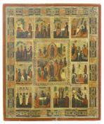 Ikone, Russland, 19. Jh. Festtagsikone. Zentrales Ostermotiv, eingerahmt von Darstellungen aus dem