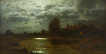 Douzette, Louis (1834 Triebsees/Pommern - 1924 Barth, Ostsee)Landschaft bei Mondschein. 1887. Öl auf