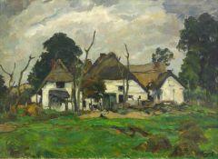 Hayek, Hans von (1869 Wien - 1940 München)Pommersche Fischerhäuser. Öl auf Leinwand. 60,5 x 80 cm.
