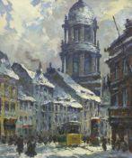 """Graf, Gerhard (1883 Berlin - 1960 ebd.)Winterliche Straßenansicht von Berlin Mitte, """"Molkenmarkt"""""""