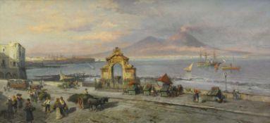 Hiller, Heinrich (1846 Berlin - 1912 ebd.)Die Bucht von Neapel mit Blick auf den Vesuv, mit