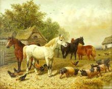 Herring, John Frederick d. Ä. (1795 London - 1865 Tonbridge)Pferde, Hühner und Schweine (Berkshire