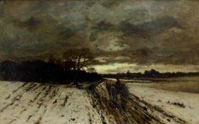 Munthe, Ludvig (1841 Aroy/Sogndal/Norwegen - 1896 Düsseldorf)Heimkehr. Abendliche Winterlandschaft