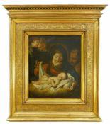 Maler des 18. Jh.Madonna mit schlafendem Kind, Josef und zwei Engeln. Öl auf Leinwand, doubliert.