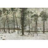 Höckner, Rudolf (1864 Wolkenstein - 1942 Bad Mergentheim)Winterlandschaft mit Laubwald. 1942. Öl auf