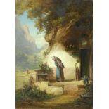 Moralt, Willy (1884 München - 1947 Lenggries)Bauernmädchen beim Besuch eines Einsiedlers. Öl auf