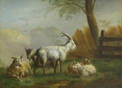 Maler des 19. Jh.Schafe und Ziegen auf der Weide. Öl auf Holz. 19,2 x 25,8 cm. Signiert B. Iben.