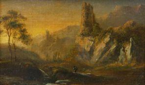 Grund, Norbert Joseph Carl (1717 Prag - 1767 ebd.) NachfolgeLandschaft mit Ruinen und Wanderer. Öl