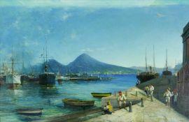 Maler des 19. Jh.Am Hafen von Neapel mit Blick auf den Vesuv, mit reicher Figuren- und
