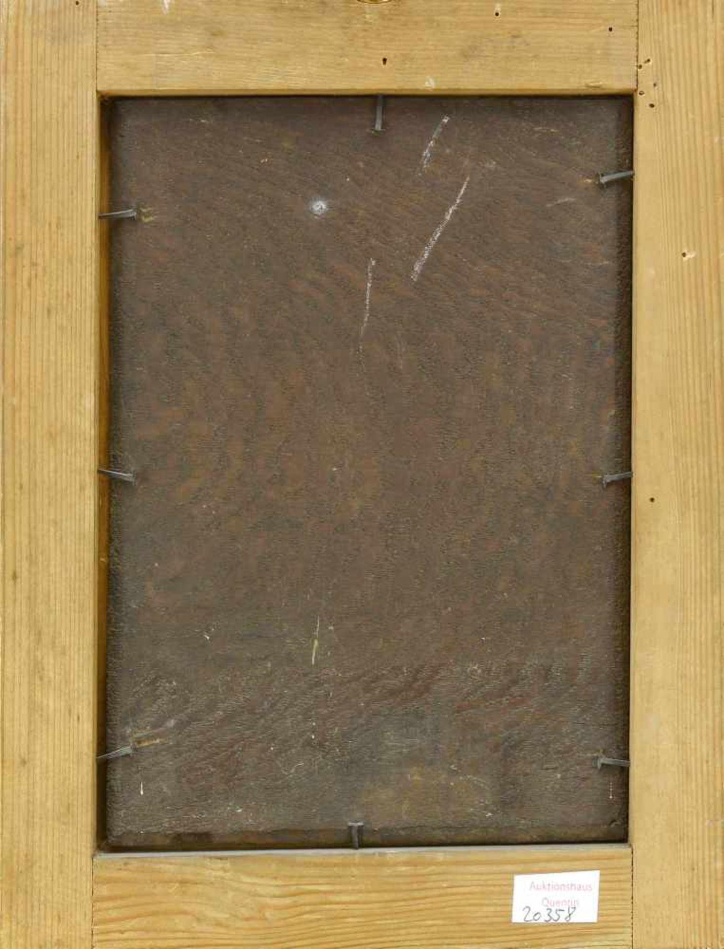 Maler, 18. Jh., wohl SpanienMadonna, den Blick nach unten gerichtet. Öl auf Holz. 27,2 x 21,2 cm. - Bild 2 aus 2