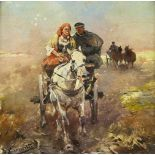 Konarski, Jan (1850 - 1918, Polen)Fahrt mit dem Pferdewagen. Öl auf Holz. 9,2 x 9,3 cm. Links