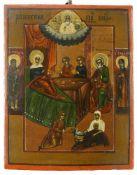 Ikone, Russland, 19. Jh.Geburt Mariae. Tempera auf Kreidegrund, Nimben in Gold, auf Holz. 18 x 14,