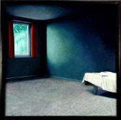 Fritsch, Herbert (1952 Binswangen/Bayern)Zimmer. Acryl auf Leinwand. 90 x 90 cm. Gerahmt.
