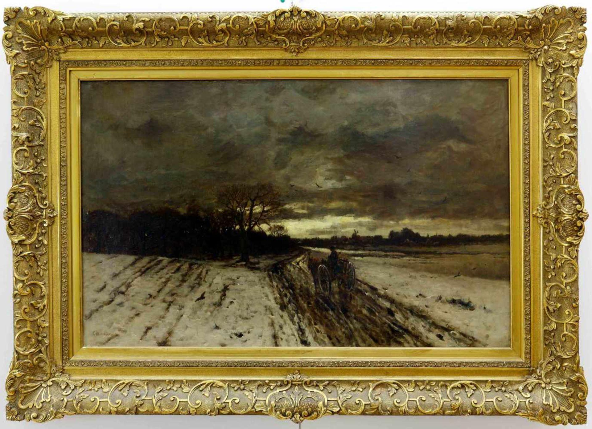 Munthe, Ludvig (1841 Aroy/Sogndal/Norwegen - 1896 Düsseldorf)Heimkehr. Abendliche Winterlandschaft - Bild 2 aus 3