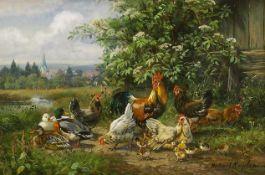 Kaplan, Hubert (1940 München)Hühnerschar mit Küken und Enten in Sommerlandschaft. Öl auf Holz. 10