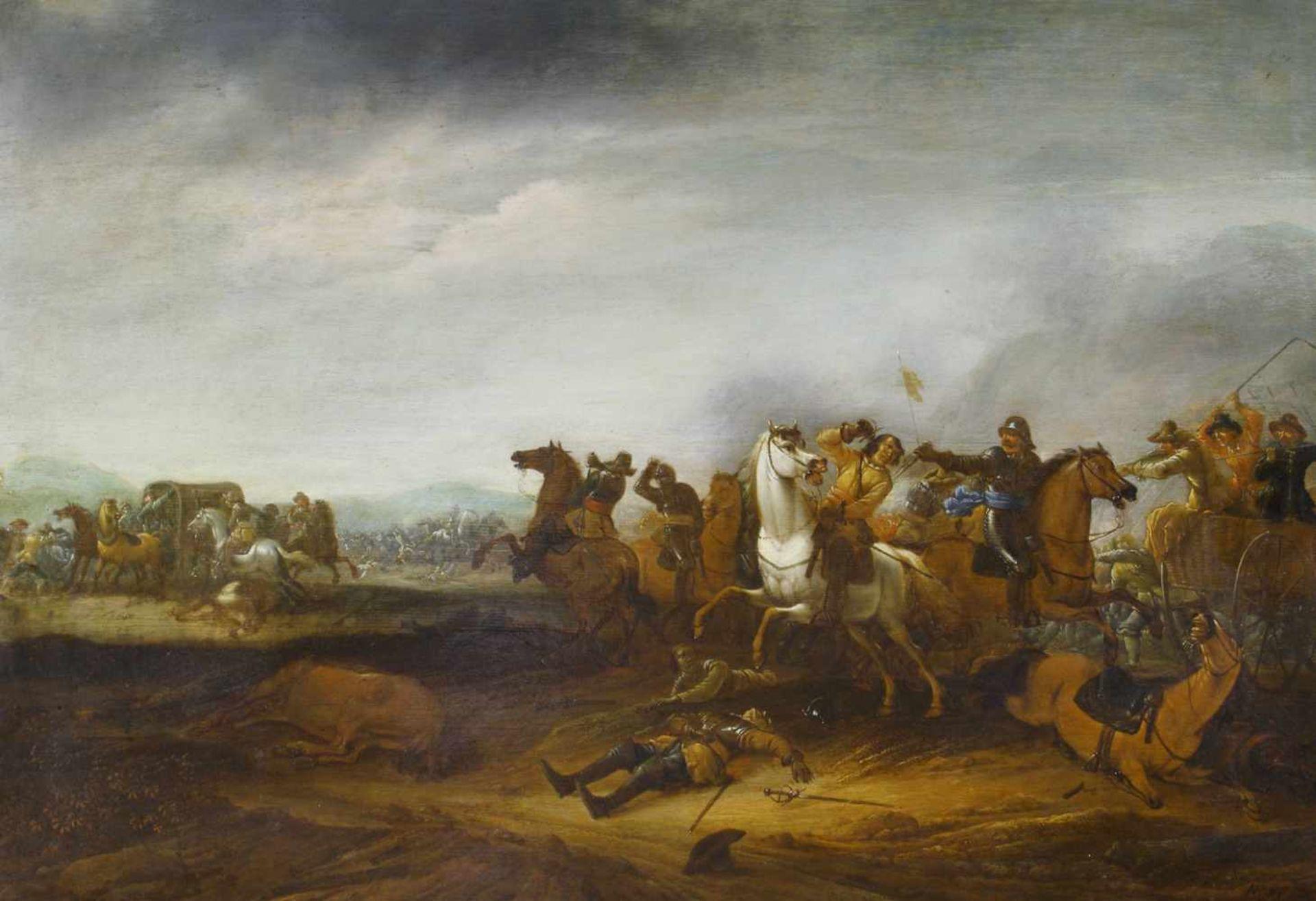 Hoef, Abraham van der (1611/12 Haarlem - 1666) Reiterschlacht. Öl auf Holz. 57,5 x 83,5 cm. Rechts - Bild 3 aus 3