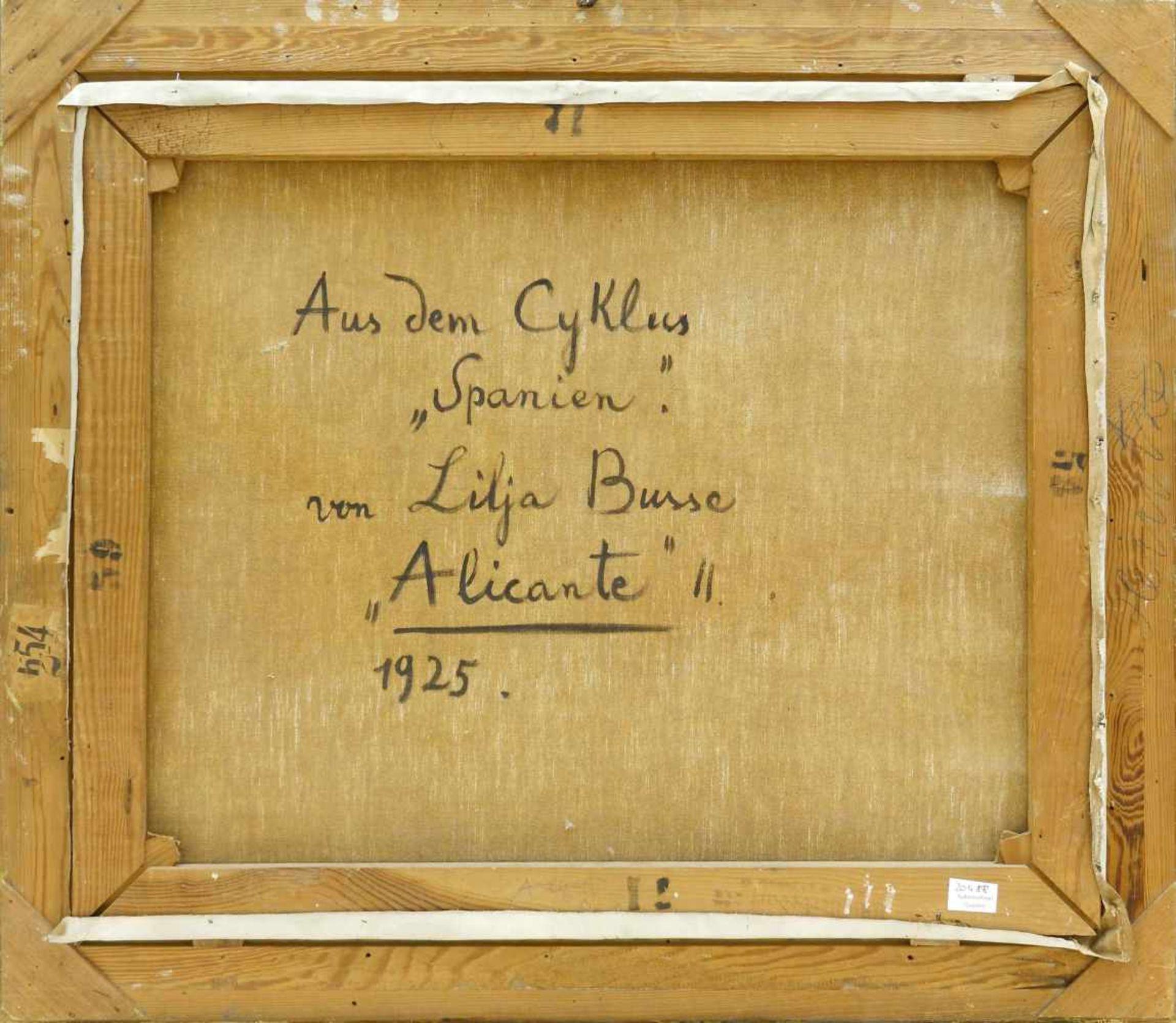 """Busse, Lilja (1897 Moskau - 1958 Berlin)Alicante. 1925. Aus dem Zyklus """"Spanien"""". Öl auf Leinwand. - Bild 3 aus 3"""