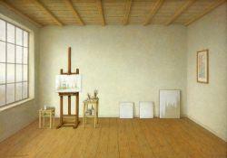 Ament, Ilse (1941 Filipovo/Jugoslawien, lebt in Kiel) Atelier. 1994. Acryl auf Hartfaser. 50 x 70