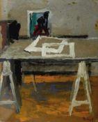 Malkowsky, Heiner (1920 Rosenberg/Schlesien - 1989 Hannover)Im Atelier. 1948. Gouache auf Malkarton.