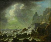 Marinemaler, Ende 18. Jh.Seesturm an felsiger Küste. Öl auf Leinwand, doubliert. 31,5 x 36 cm.