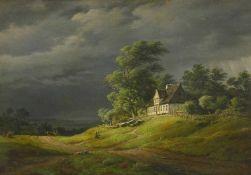 Kiaerskou, Frederik Christian (1805 Kopenhagen - 1891 ebd.)Landschaft bei aufziehendem Gewitter, mit