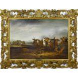 Hoef, Abraham van der (1611/12 Haarlem - 1666) Reiterschlacht. Öl auf Holz. 57,5 x 83,5 cm. Rechts