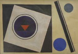 Diener, Rolf (1906 Gößnitz - 1988 Hamburg)Quadrate mit Kreisen. 1968. Öl auf Leinwand. 51 x 71 cm.