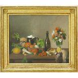 Frankreich, 19. Jh.Stillleben mit Gemüsen, Fischen, Flasche und Blumenstrauß. (1)855. Öl auf