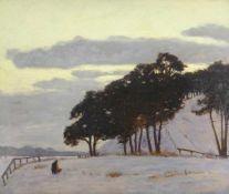 Kuron, Herbert (1888 Breslau - 1951 Berlin)Bei Schildhorn. Winterlandschaft. Öl auf Malpappe. 52,5 x