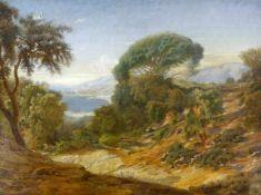 Flandrin, Paul Jean (1811 Lyon - 1902 Paris) zugeschr. Landschaft, bei Marseille (?), mit Personen