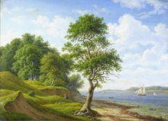 Kiaerskou, Frederik Christian (1805 Kopenhagen - 1891 ebd.)Sommerlich bewaldete Uferlandschaft mit