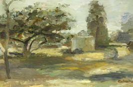 Metzkes, Harald (1929 Bautzen, lebt in Wegendorf b. Berlin)Landschaft. 1976. Öl auf Leinwand. 40 x