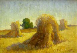 Knauf, Carl (1893 Godesberg - 1944 Nidden)Sommerlandschaft mit Kornhocken. Öl auf Malpappe. 33 x