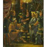 Maler des 17. Jh.Christus vor Herodes. Öl auf Kupfer. 22,5 x 19,4 cm. Gerahmt. Retuschen.