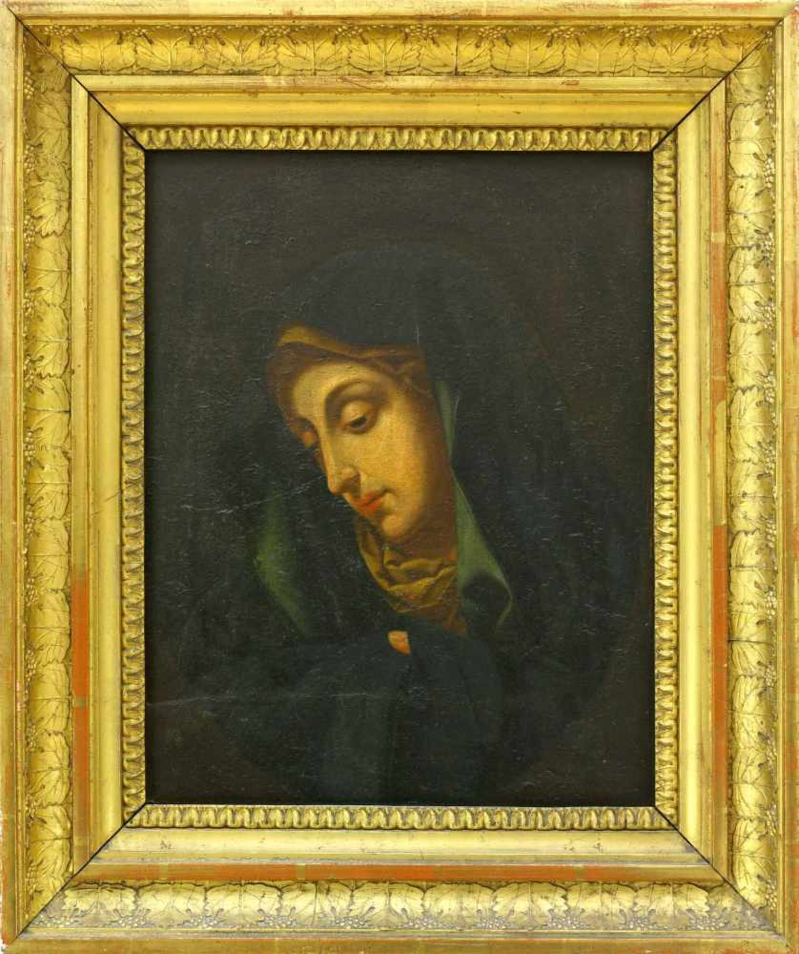 Maler, 18. Jh., wohl SpanienMadonna, den Blick nach unten gerichtet. Öl auf Holz. 27,2 x 21,2 cm.