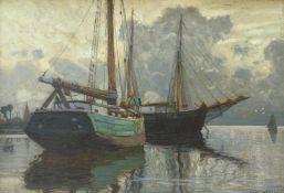 Hartig, Hans (1873 Carvin/Pommern - 1936 Berlin) Windstille vor dem Gewitter (am Stettiner Haff). Um