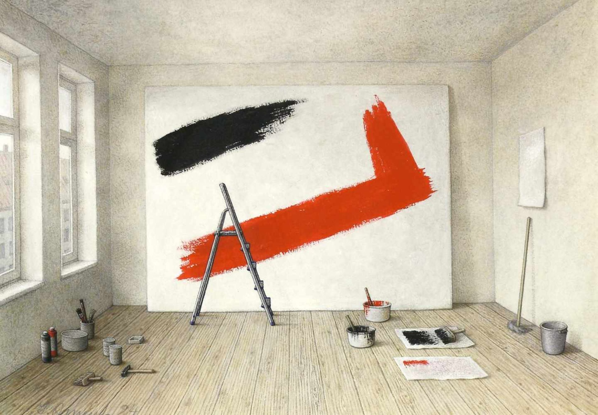 Ament, Ilse (1941 Filipovo/Jugoslawien, lebt in Kiel)Atelier. 1994; Großes Bild. 1994; Feuerblüte. - Bild 2 aus 3