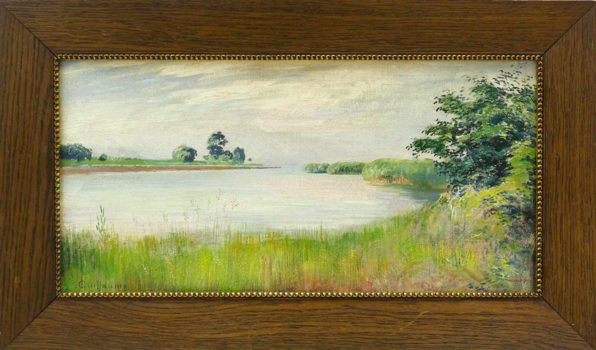 Guillaume, Louis (1865 Neuchâtel - 1942 Marin Lac de Neuchâtel)Sommerliche Uferlandschaft. Öl auf - Bild 2 aus 3