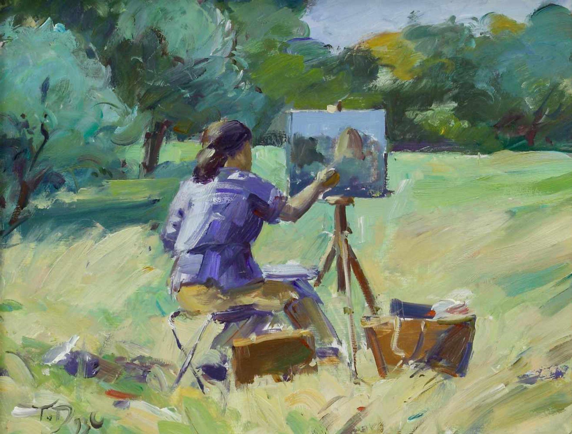 Duwe, Tobias (1961 Bad Oldesloe, lebt in Großensee)Malerin im Freien. 1993. Öl auf Hartfaser. 27 x