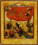Ikone, Russland, 18. Jh. Der Hl. Elias in der Wüste und Szenen aus seinem Leben. Eitempera auf Holz.