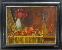 Ebersberger, Max (1852 Nürnberg - 1926 München)Stillleben mit Früchten und Blumen. Öl auf